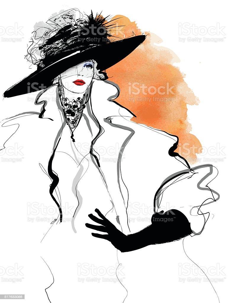 ファッションの女性モデルと黒の帽子 ベクターアートイラスト
