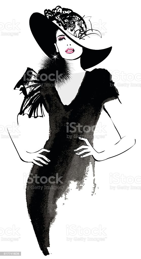 Mujer de moda modelo con un sombrero negro - ilustración de arte vectorial