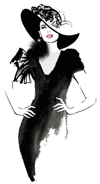 fashion woman model with a black hat - womens fashion stock illustrations