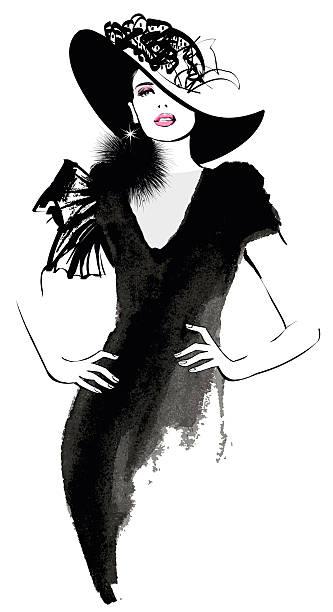 ファッションの女性モデルと黒の帽子 - ファッション/ビューティ点のイラスト素材/クリップアート素材/マンガ素材/アイコン素材