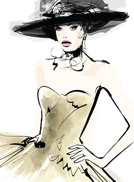 ilustraciones, imágenes clip art, dibujos animados e iconos de stock de mujer de moda modelo con un sombrero - moda de mujer