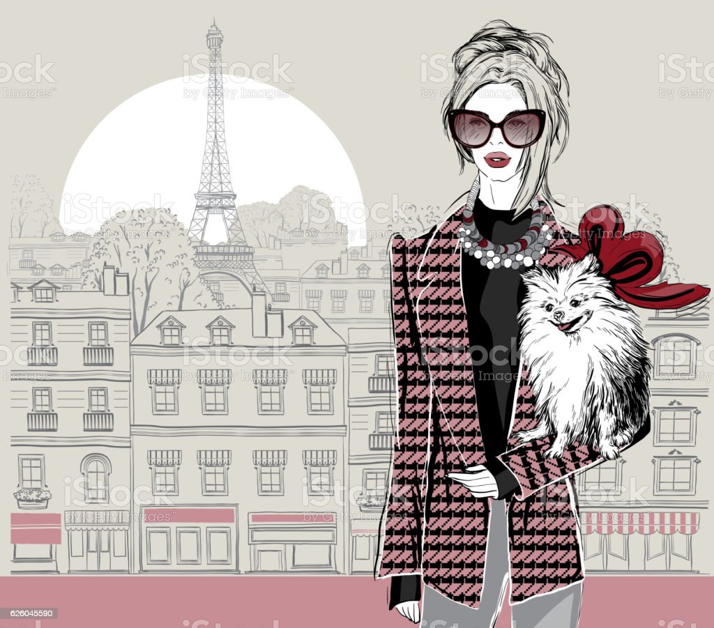 Fashion woman model with a little dog ベクターアートイラスト