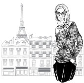 Fashion woman model with a sunglasses on Paris city background,  vector illustration