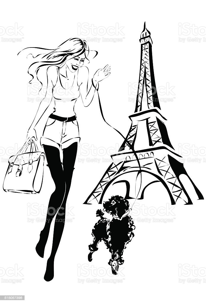 Fashion woman near Eiffel Tower with little dog vector art illustration