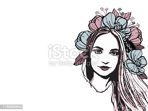 istock Fashion woman portrait t shirt print design hand drawn with text field for sign , vector beautiful illustration . European blond long hair girl model isolated on white 1193560943