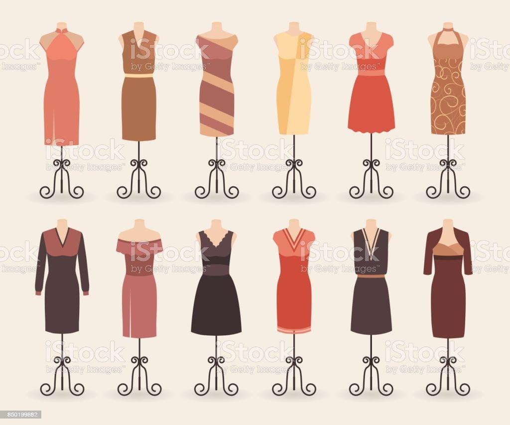 Frau Shopping Kleider Kollektion Satz Von Cocktail Abendkleider Auf ...