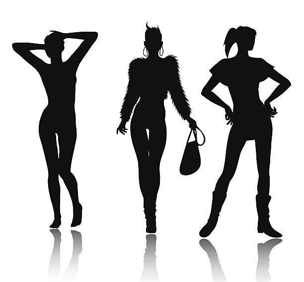Fashion woman silhouette set vector art illustration