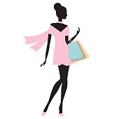 fashion model whith  shopping bags vector illustration.