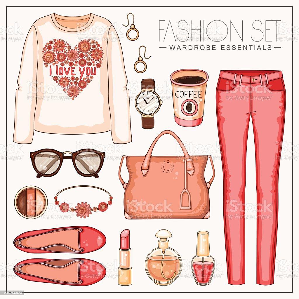 ファッション woman'マルコカジュアルなコーラルの装いに、トラウザーとトップ ベクターアートイラスト