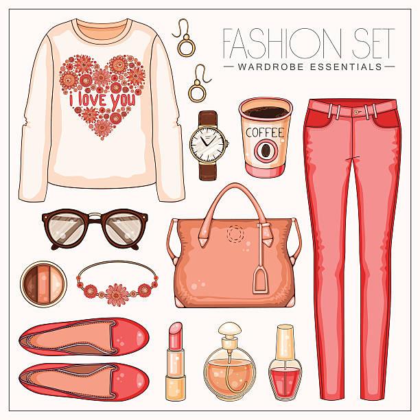ファッション woman'マルコカジュアルなコーラルの装いに、トラウザーとトップ - 春のファッション点のイラスト素材/クリップアート素材/マンガ素材/アイコン素材