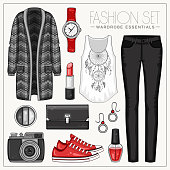 Vector fashion set of woman's clothes and accessories. Casual outfit with cardigan and trousers