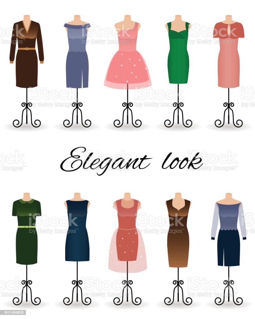 Damenmode Kleider In Verschiedenen Farben Auf Schaufensterpuppen ...
