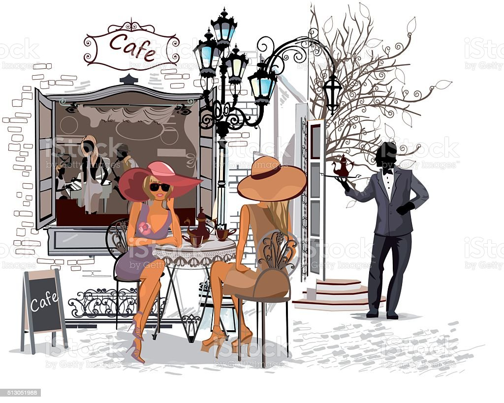 Fashion women in the old city cafe vector art illustration