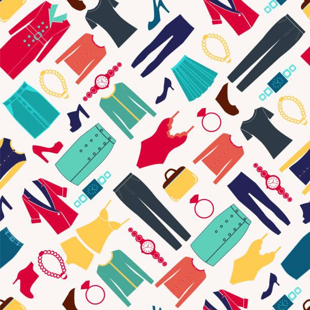 mode frauen nahtloses muster mit kleidung und accessoires - damenmode stock-grafiken, -clipart, -cartoons und -symbole