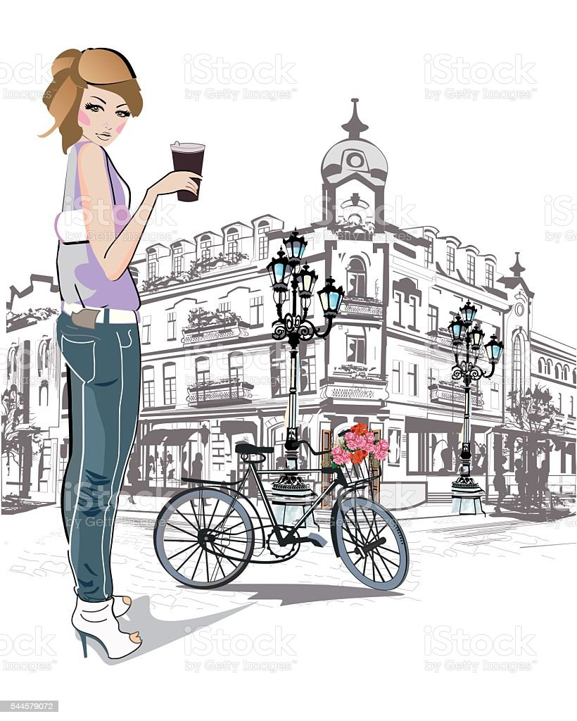 Fashion young girl drinking coffee. - ilustración de arte vectorial