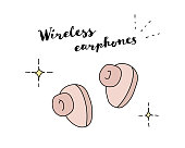 istock Fashionable and cute doodle illustrations of wireless earphones 1279283046