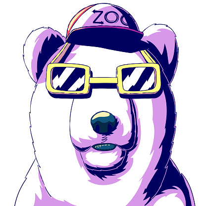 Fashionable bear in a cap and glasses.