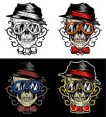 Fashionable Biker Skull Wearing Hat and goggles With Tribal Background