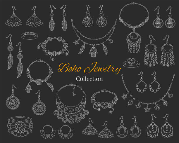 modische boho schmuck-accessoire-kollektion, handgezeichnete doodle vektorgrafik - modeschmuck stock-grafiken, -clipart, -cartoons und -symbole