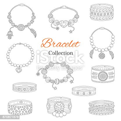 Fashionable bracelets collection, vector hand drawn doodle illustration, isolated on white background.