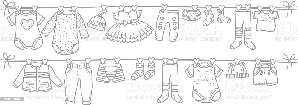 fashionable clothes for kids vector art illustration