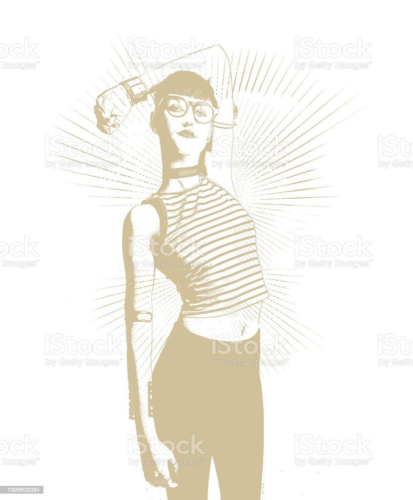 自信を持っておしゃれな流行に敏感な女性 - 1人のベクターアート素材や