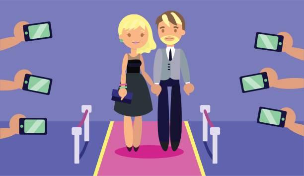 modische paar am roten teppich mit paparazzi die hände unter photoes mit handys. - paararmbänder stock-grafiken, -clipart, -cartoons und -symbole