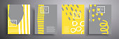 Fashionable cover designs. Vector compositions of minimal geometric shapes. The trend colors are yellow and gray. Colors 2021. Suitable for brochures, posters, covers and banners