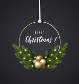Fashionable Christmas decoration with spruce branches and Christmas balls. Christmas wreath, vector illustration.