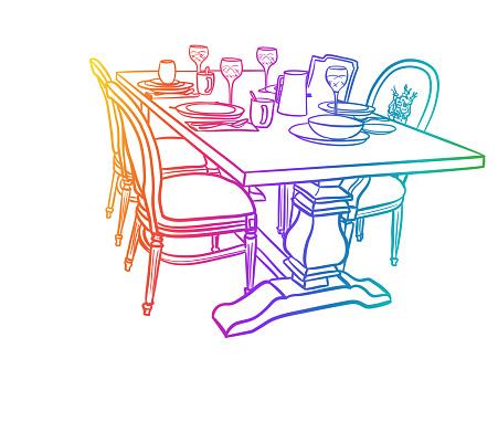 Fashionable Dining Set Furniture Rainbow