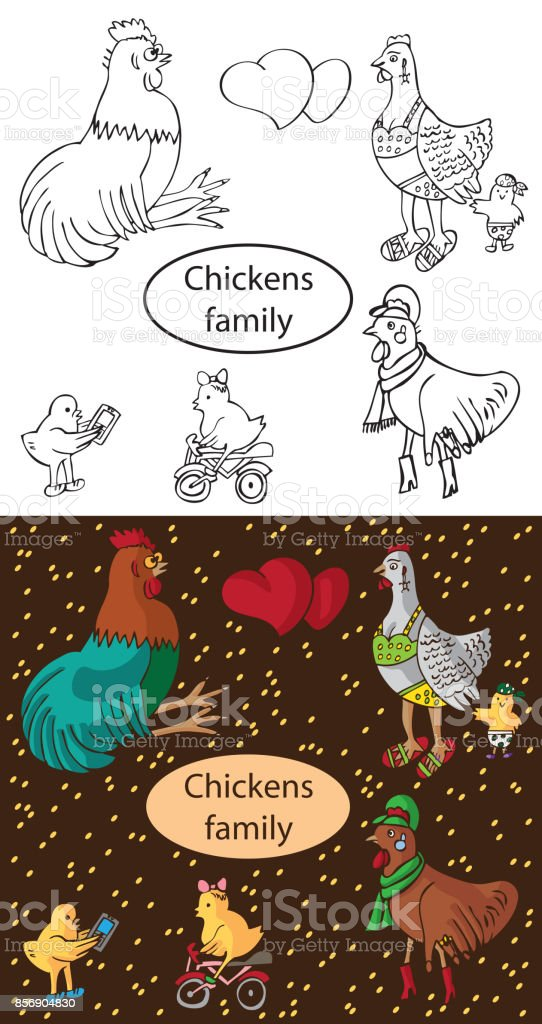 fashionable family chickens and cock vector art illustration