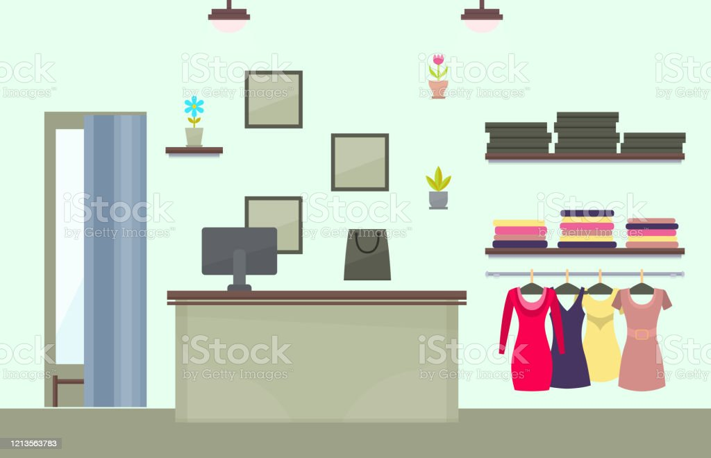 Fashionable Female Clothes Store Interior Design Stock Illustration Download Image Now Istock