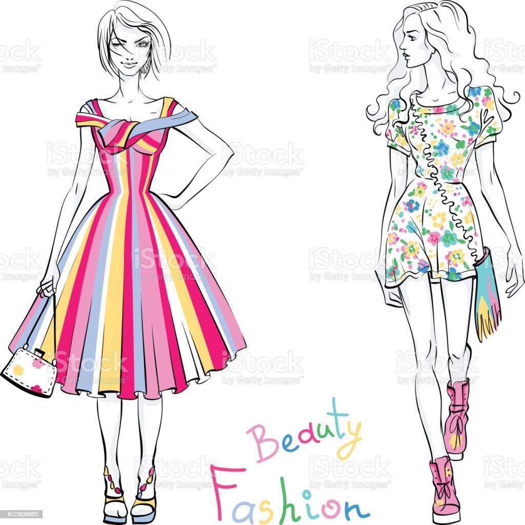 夏服のおしゃれな女の子 1人のベクターアート素材や画像を多数