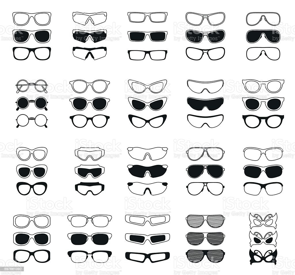 fashionable glasses simple black vector icons set vector art illustration
