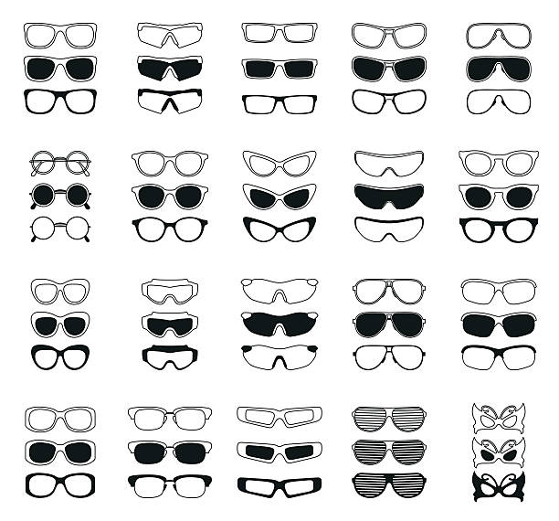 fashionable glasses simple black vector icons set vector art illustration