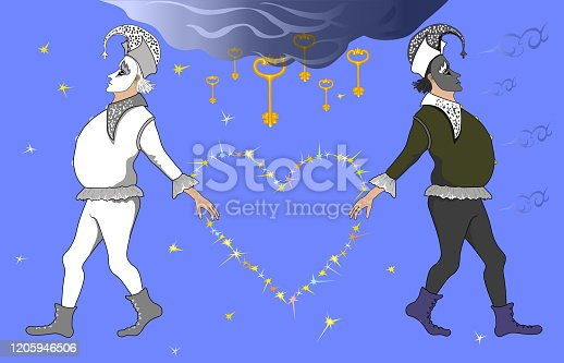 istock Fashionable horizontal vector illustration allegory of the holiday Valentine's Day  Portrait of figures of two circus clowns in theatrical costumes  of black and white color with a symbolic heart made of stars against the blue sky of stars and pl 1205946506
