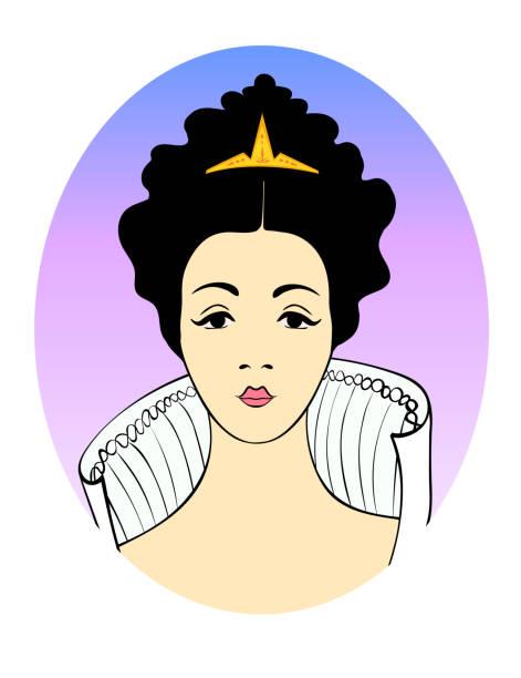 modische abbildung in ein oval vektor porträt einer aristo - langhaarspitzen stock-grafiken, -clipart, -cartoons und -symbole