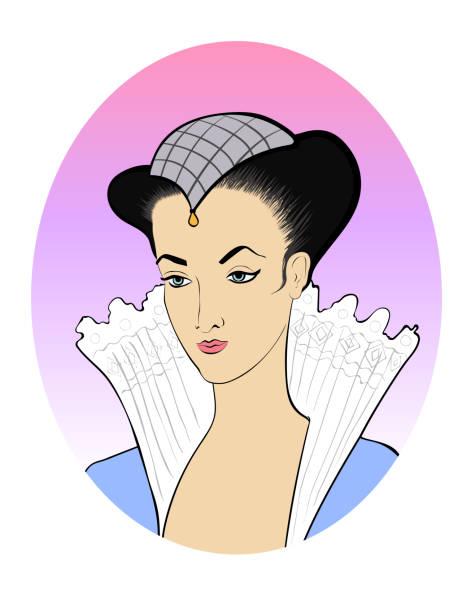 modische abbildung in ein oval vektor porträt einer aristokratischen brünette mit hut - langhaarspitzen stock-grafiken, -clipart, -cartoons und -symbole