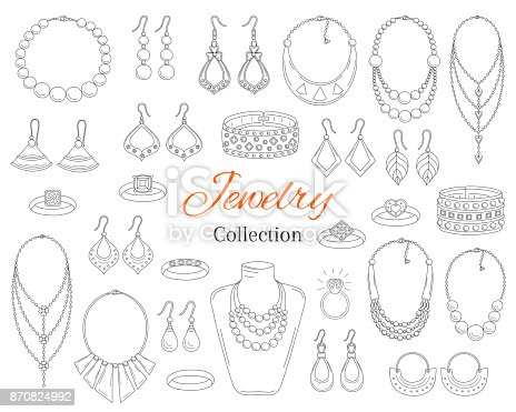 Fashionable jewelry collection, vector hand drawn doodle illustration. Woman accessories bracelets, necklaces, earrings and rings, isolated on white background.