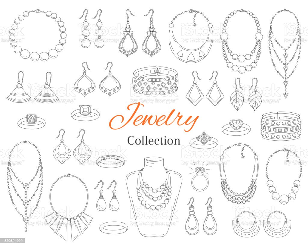 Fashionable jewelry collection, vector hand drawn doodle illustration vector art illustration