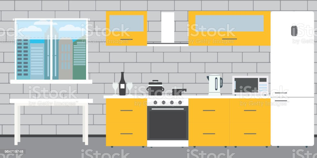 Fashionable kitchen interior on a brick wall background,window a royalty-free fashionable kitchen interior on a brick wall backgroundwindow a stock vector art & more images of apartment