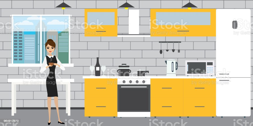 Fashionable kitchen interior on a brick wall background,window a royalty-free fashionable kitchen interior on a brick wall backgroundwindow a stock vector art & more images of adult