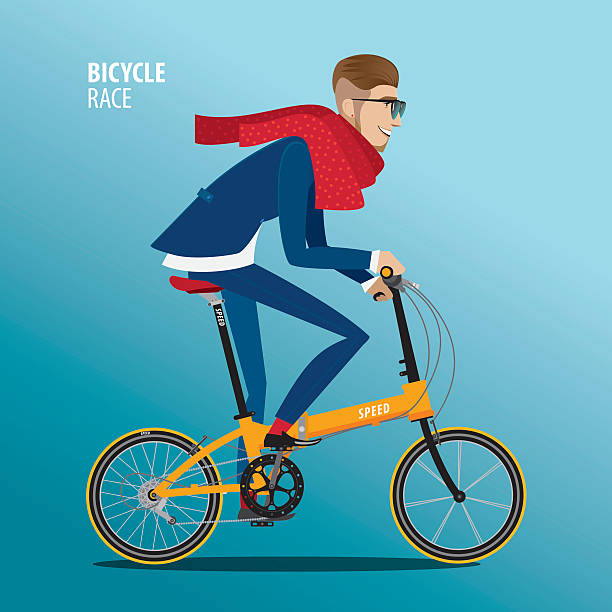 Fashionable man rides on a folding bike Fashionable man in blue suit rides on a detailed high quality folding bike suave stock illustrations