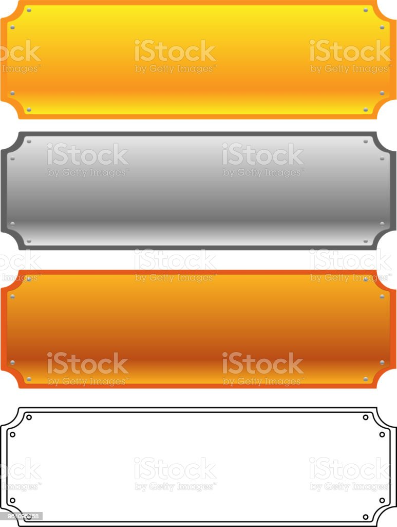 Fashionable metal plate set - Royalty-free Anniversary stock vector