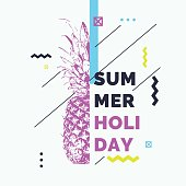 Fashionable modern poster with pineapple, summer holiday. Vector illustration. retro style banner