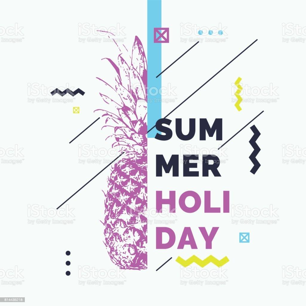 Modische moderne Plakat mit Ananas, Sommerurlaub. Retro-Stil-banner – Vektorgrafik