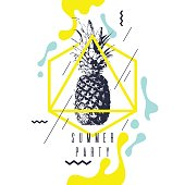 Fashionable modern poster with pineapple, summer party. Vector illustration. retro style banner