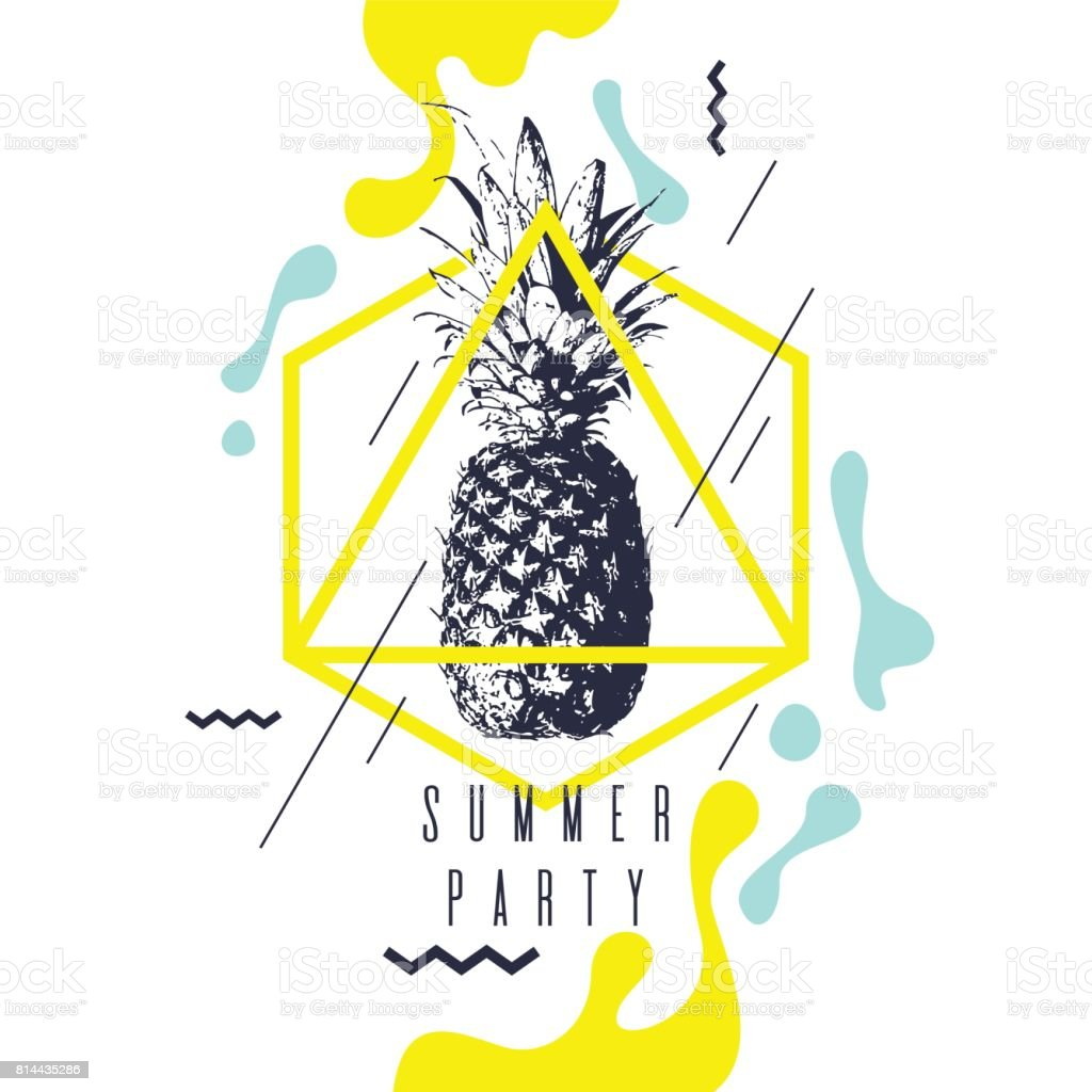 Modische moderne Plakat mit Ananas, Sommerfest. Retro-Stil-banner – Vektorgrafik