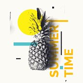 Fashionable modern poster with pineapple, Summer time. Vector illustration. Tropical fruit on white background
