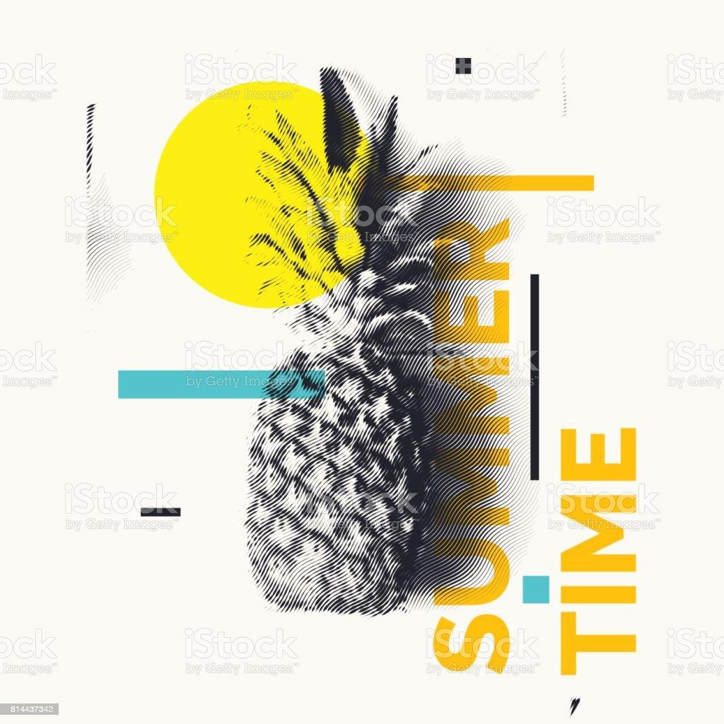 Modische moderne Plakat mit Ananas, Sommerzeit. Tropische Früchte auf weißem Hintergrund – Vektorgrafik